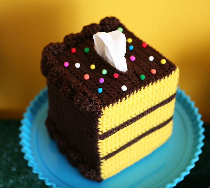 Free Pattern Yellow Cake With Chocolate Frosting Red Heart Soft